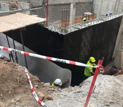 Impermeabilización muro sótano. Residencia jóvenes en Barcelona. Cliente: Cabbsa