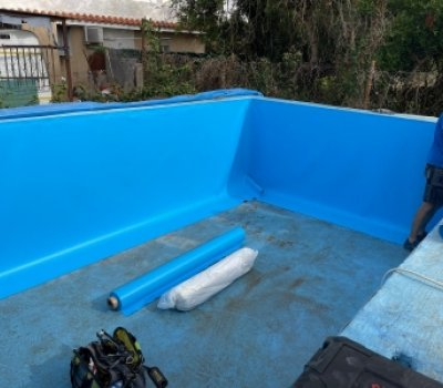 Impermeabilización de piscina mediante pvc armado con malla de poliester